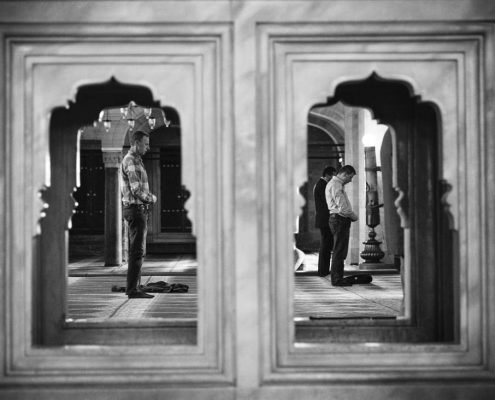 Locals practicing their daily rituel called `namaz` in a mosque.